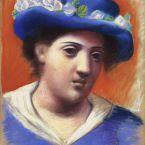 Пабло Пикассо. Женщина в голубой шляпе с цветами. 1921