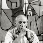 Пабло Пикассо перед картиной Кухня, Париж, 1948. Фото, Герберт Лист
