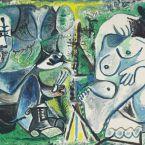Пабло Пикассо. Художник и его модель на фоне пейзажа. 1963