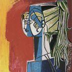 Пабло Пикассо. Портрет Сильветт Давид на красном фоне. 1954
