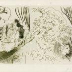 Пабло Пикассо. Сюита Воллара (074). Рембрандт и женские профили. 1934