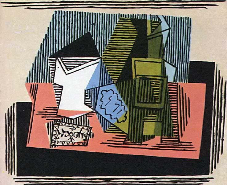 Картина Пабло Пикассо. Бокал, бутылка, пачка табака. 1922