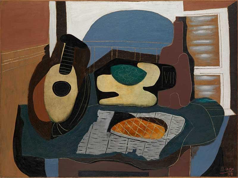 Картина Пабло Пикассо. Натюрморт с мандолиной и пирожным. 1924