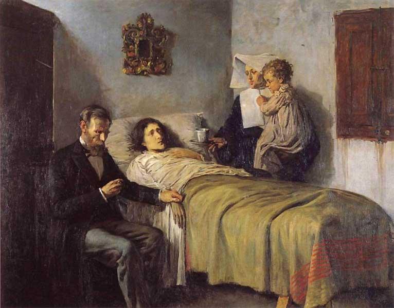 Картина Пабло Пикассо. Знание и милосердие. 1897