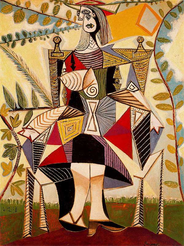 Картина Пабло Пикассо.  Женщина, сидящая в саду. 1938 ($49,5 млн)