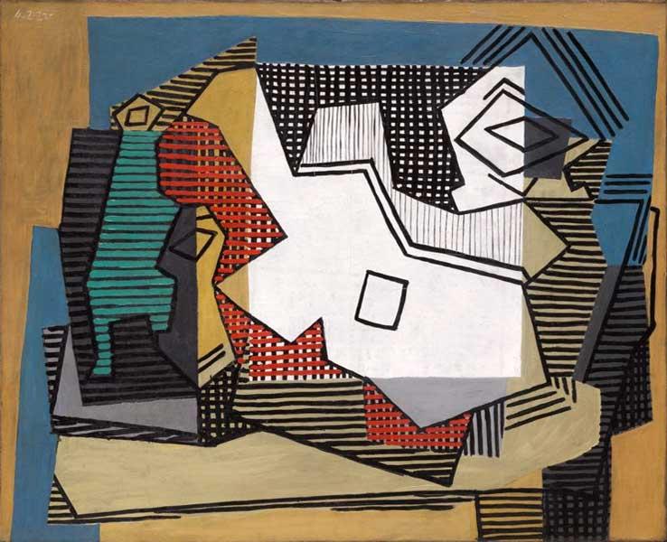 Картина Пабло Пикассо. Натюрморт (Бутылка, бокал, ваза, гитара). 1922
