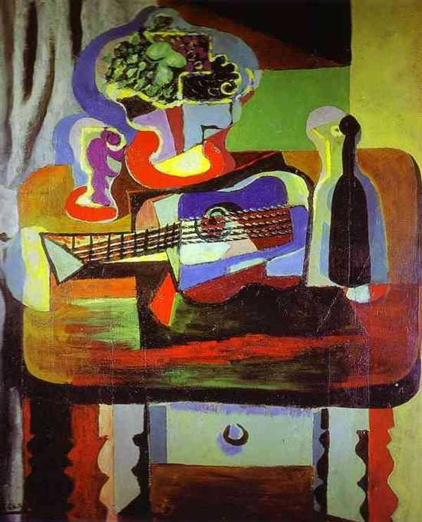 Картина Пабло Пикассо. Натюрморт (Бокал, букет, гитара и бутылка). 1919