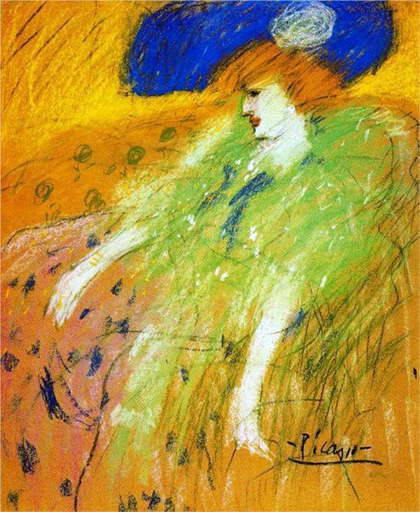 Картина Пабло Пикассо. Женщина в голубой шляпе. 1901