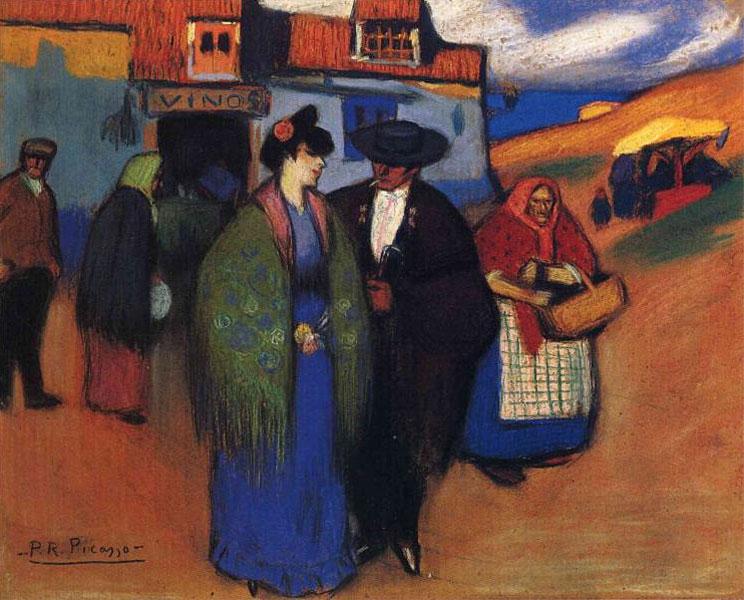 Картина Пабло Пикассо. Испанская пара перед гостиницей. 1900