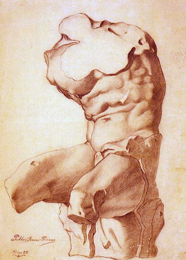 Картина Пабло Пикассо. Академический рисунок торса. 1893