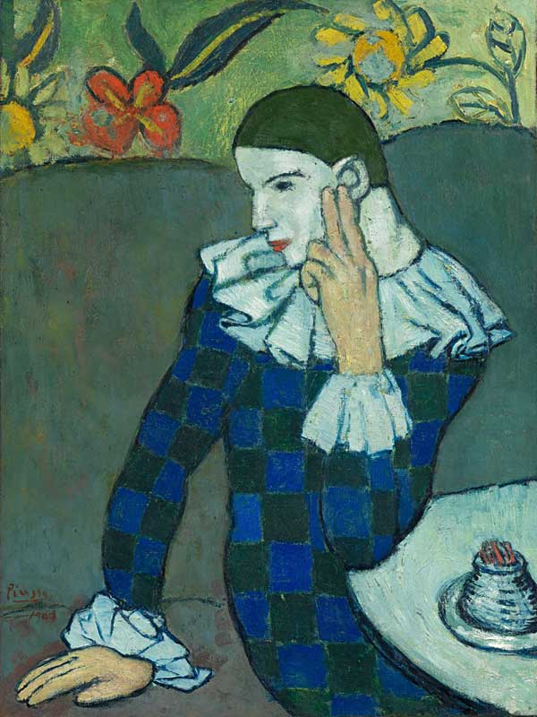 Картина Пабло Пикассо. Облокотившийся Арлекин. 1901