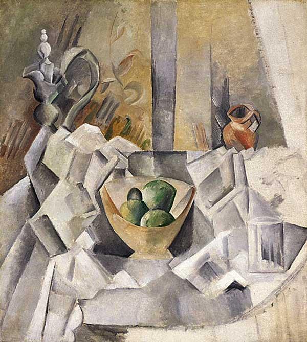 Картина Пабло Пикассо. Графин, горшок и чаша с фруктами. 1909