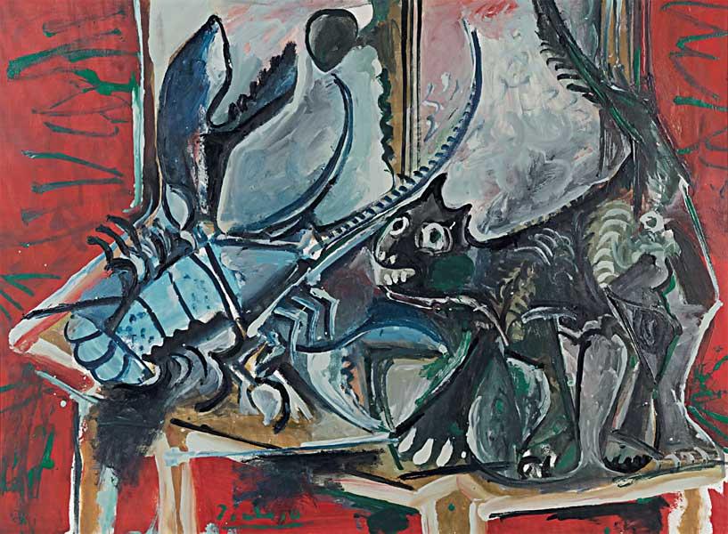 Картина Пабло Пикассо. Кот и омар. 1965