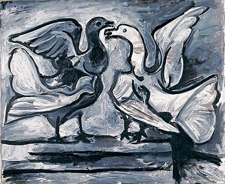 Картина Пабло Пикассо. Два голубя с расправленными крыльями. 1960
