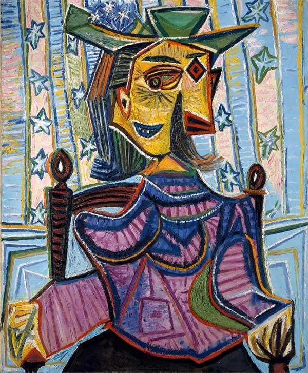 Картина Пабло Пикассо. Дора Маар в кресле. 1939