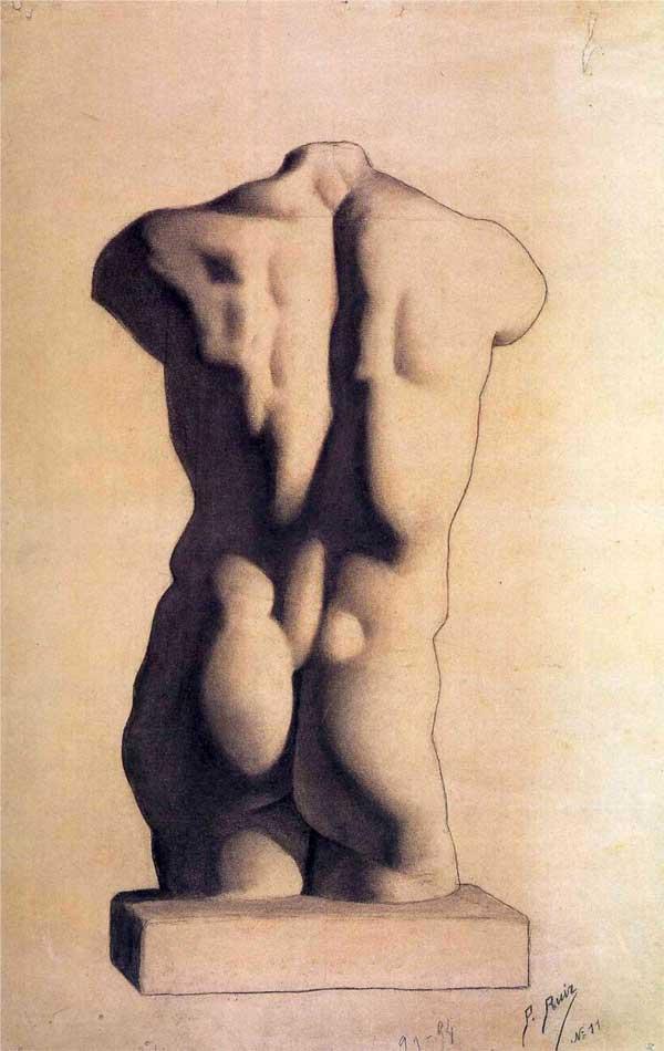 Картина Пабло Пикассо. Мужской торс, гипс. 1893
