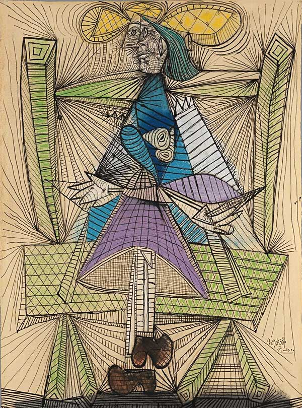 Картина Пабло Пикассо. Сидящая женщина (Дора Маар). 1938