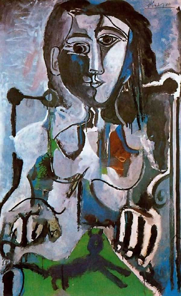 Картина Пабло Пикассо. Женщина с котом, сидящая в кресле. 1964 ($18,1 млн)