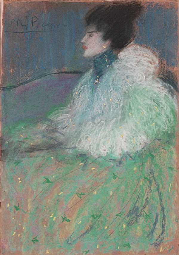 Картина Пабло Пикассо. Женщина в зеленом. 1901