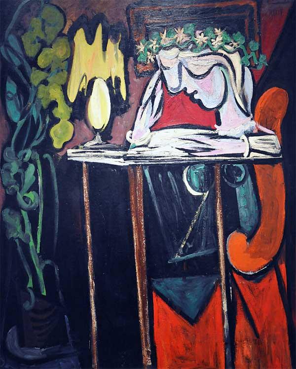 Картина Пабло Пикассо. Девушка, читающая за столом. 1934