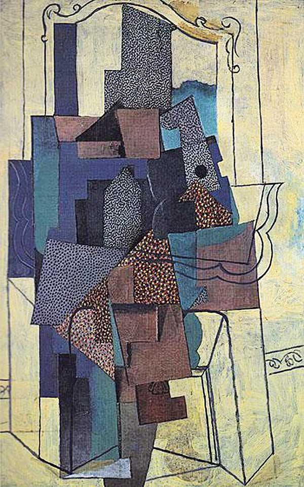 Картина Пабло Пикассо. Человек у камина. 1916