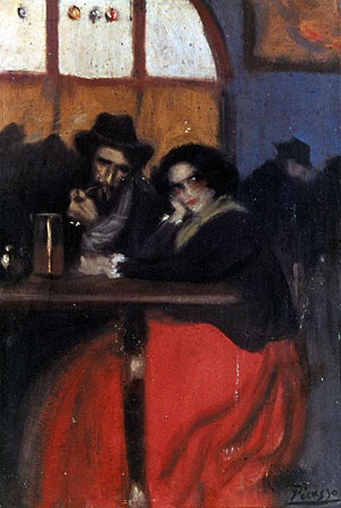 Картина Пабло Пикассо. Интерьер кафе Четыре кота. 1899