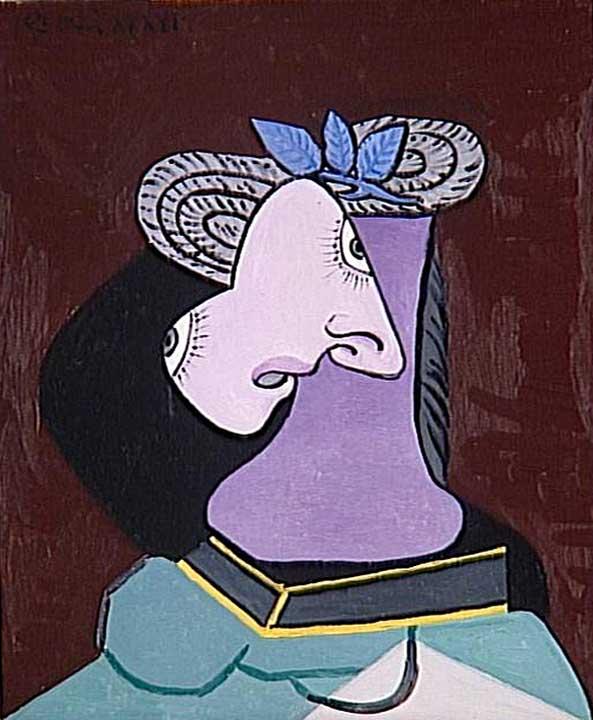 Картина Пабло Пикассо. Соломенная шляпка с голубыми листьями. 1936