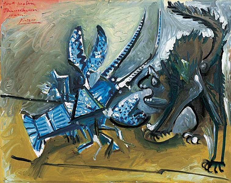 Картина Пабло Пикассо. Омар и кот. 1965