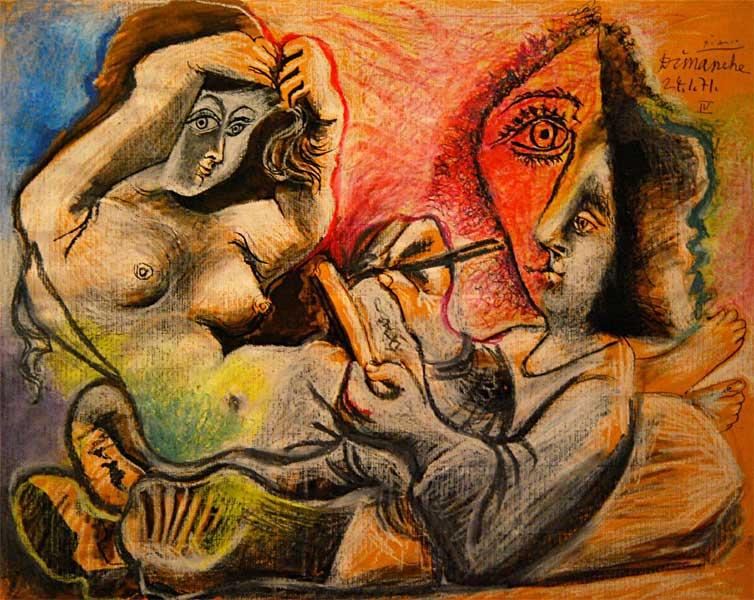 Картина Пабло Пикассо. Художник и его модель. 1971