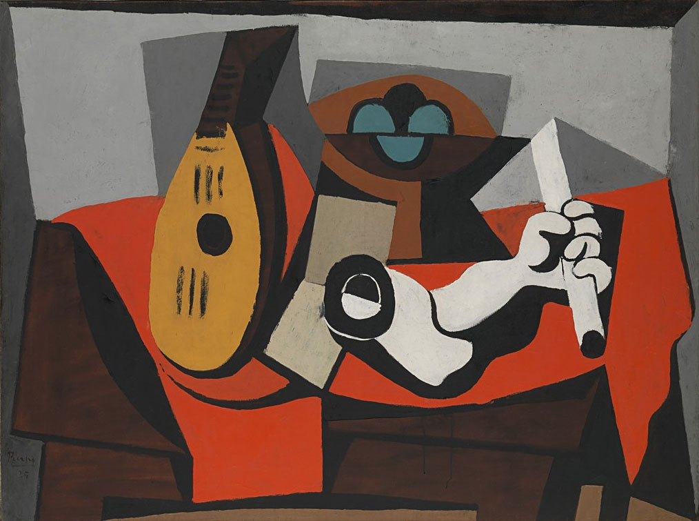 Картина Пабло Пикассо. Мандолина, корзина с фруктами и гипсовая рука. 1925