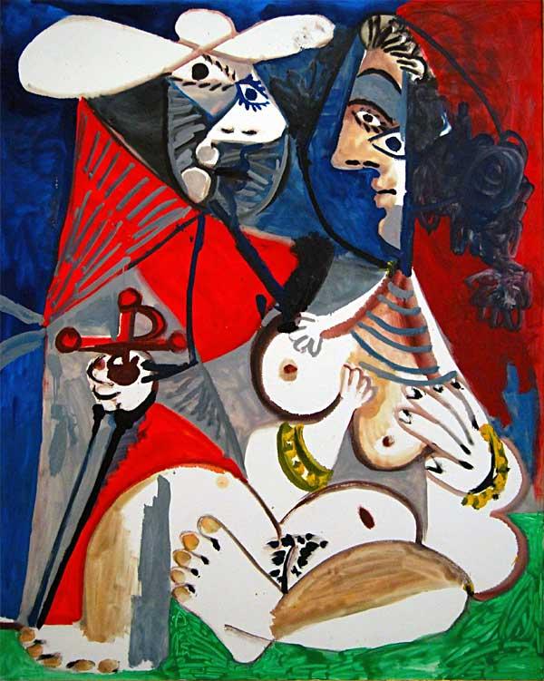 Картина Пабло Пикассо. Матадор и обнаженная женщина. 1970
