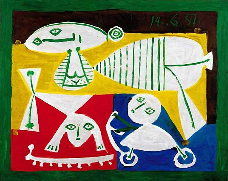 Картина Пабло Пикассо. Мать и играющие дети. 1951