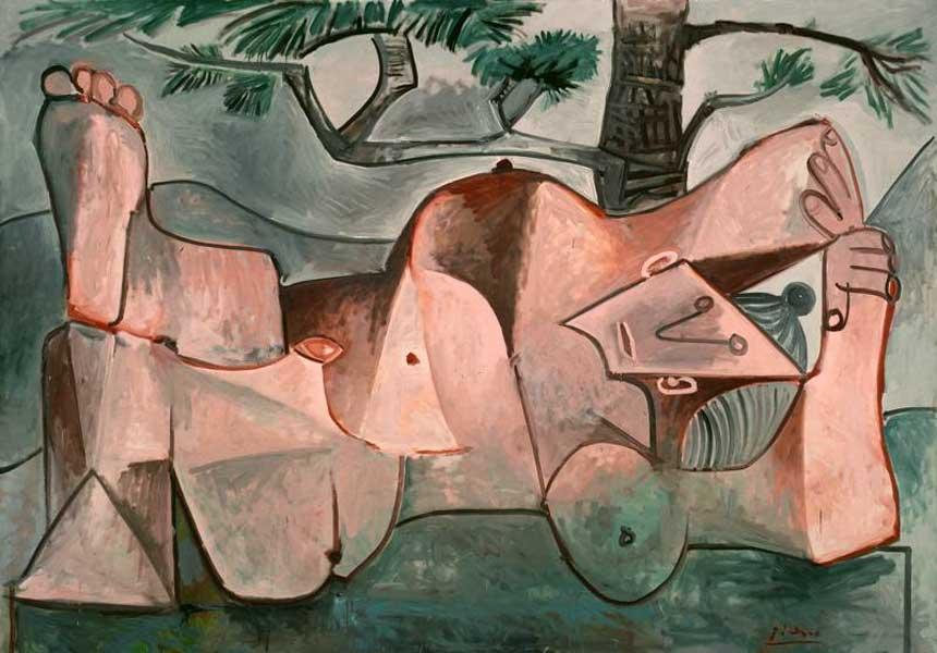 Картина Пабло Пикассо. Обнаженная под сосной. 1959