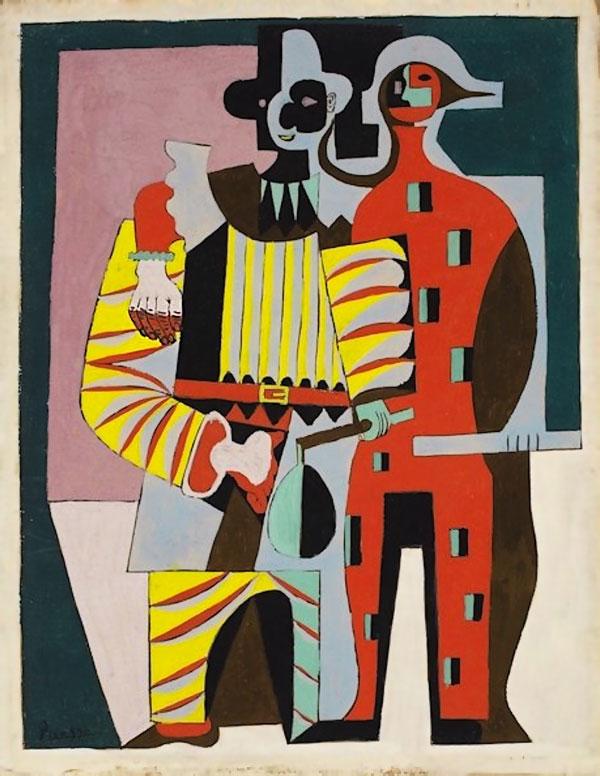 Картина Пабло Пикассо. Пьеро и Арлекин. 1920