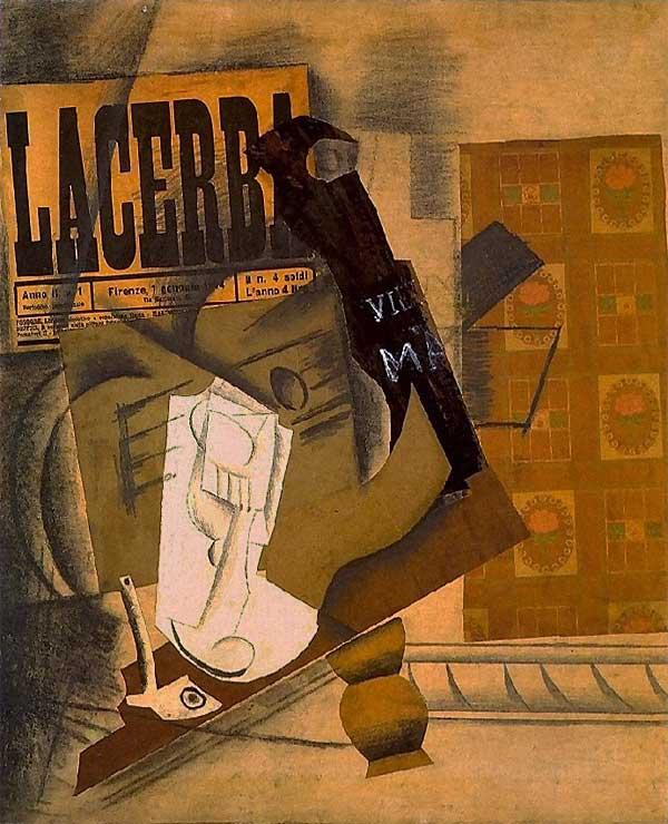 Картина Пабло Пикассо. Трубка, бокал, газета, гитара, бутылка. 1914