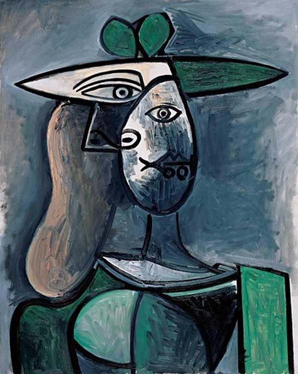 Картина Пабло Пикассо. Портрет женщины с зеленой шляпе. 1947