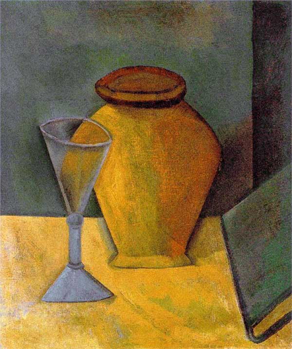 Картина Пабло Пикассо. Горшок, бокал и книга. 1908
