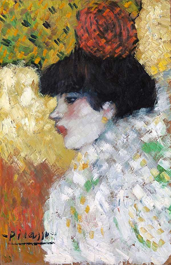 Картина Пабло Пикассо. Профиль молодой женщины.1901
