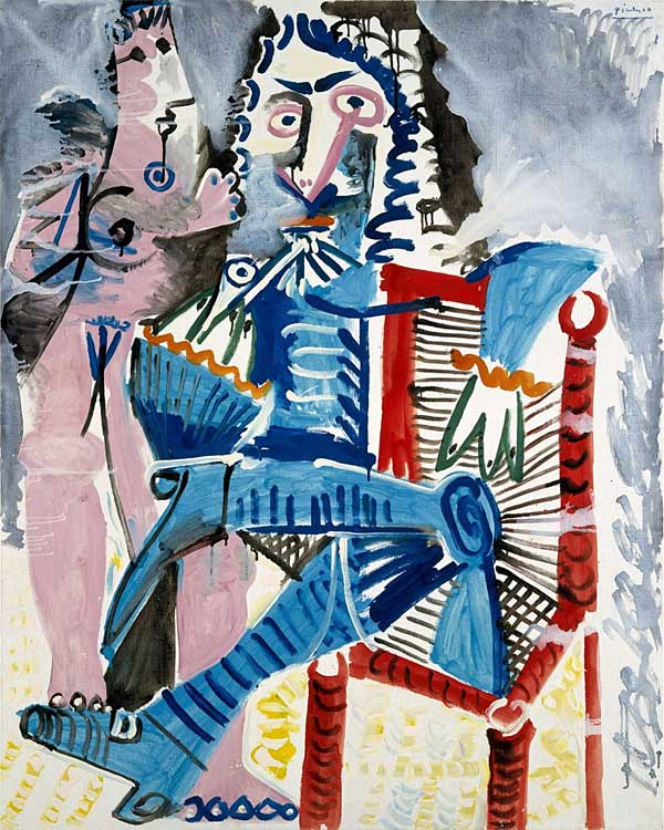 Картина Пабло Пикассо. Стоящая обнаженная и сидящий мушкетер. 1968