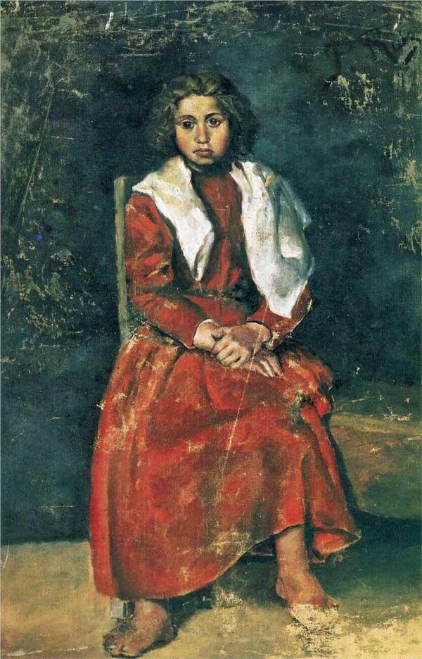 Картина Пабло Пикассо. Босоногая девочка. 1895