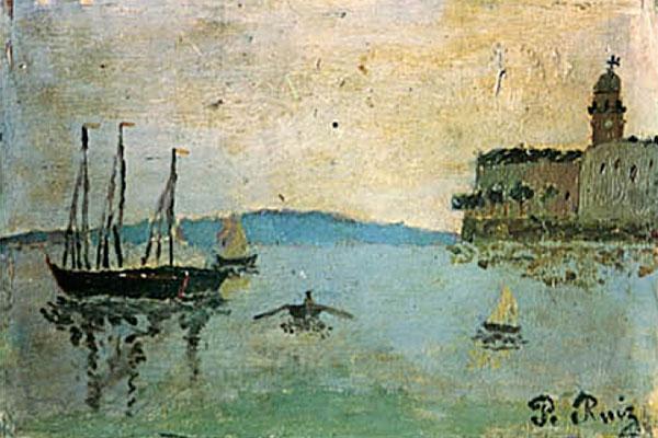 Картина Пабло Пикассо. Вид на порт Малаги. 1889-1890