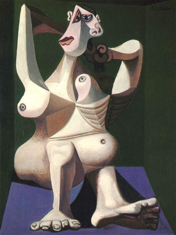 Картина Пабло Пикассо. Женщина, расчесывающая волосы. 1940