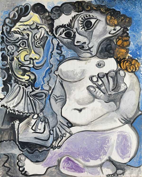 Картина Пабло Пикассо. Женщина и мушкетер. 1967