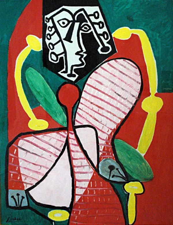 Картина Пабло Пикассо. Молодая женщина в полосатом платье. 1949