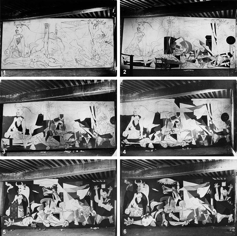 Герника в процессе создания. Париж, 1937. Фотограф Дора Маар. Фото стадий 1-6