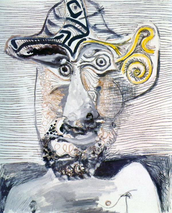 Картина Пабло Пикассо. Бюст мужчины в шляпе. 1972