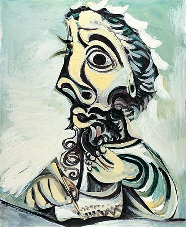 Картина Пабло Пикассо. Бюст пишущего мужчины 2. 1971