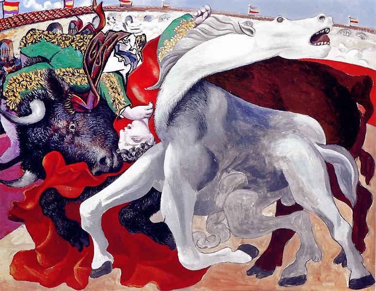 Картина Пабло Пикассо. Коррида, или смерть матадора. 1933
