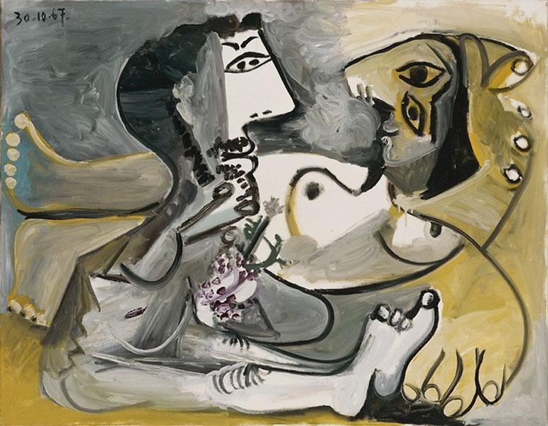 Картина Пабло Пикассо. Обнаженные мужчина и женщина. 1967
