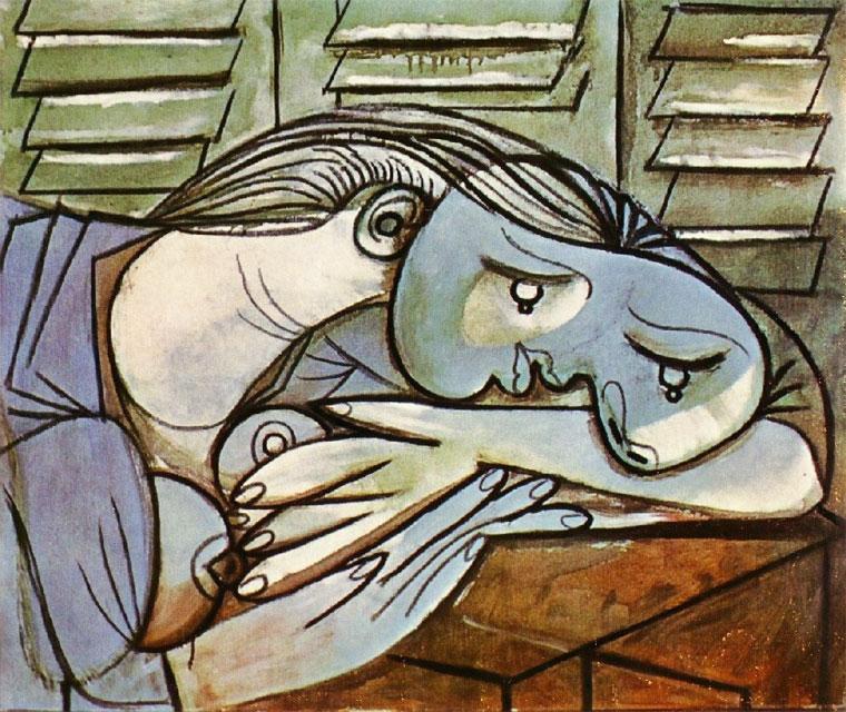 Картина Пабло Пикассо. Спящая на фоне жалюзи. 1936